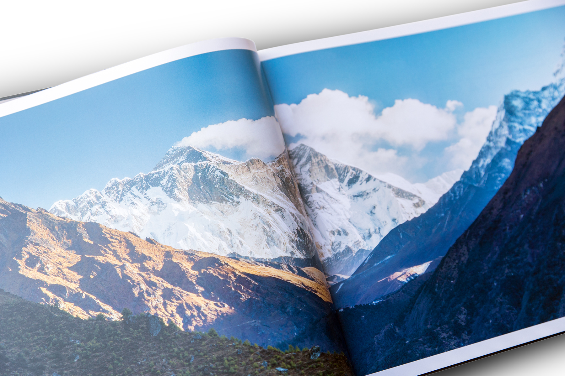 Page from the book, morning view on Mount Everest from Namche Bazaar